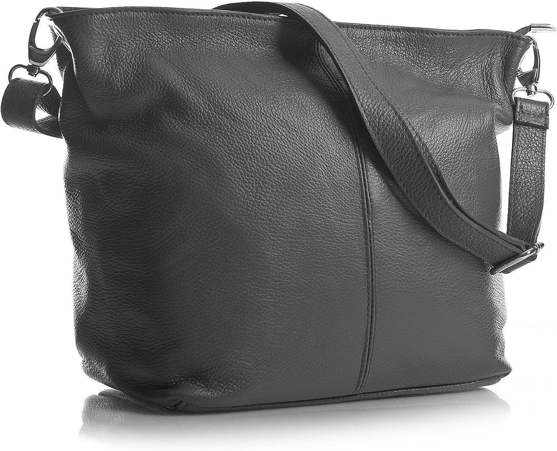 Big Handbag Shop mittelgroße Damen Schultertasche aus echtem italienischem Leder (MA_506 Dark grau) B00C6O8KFK  Modisch