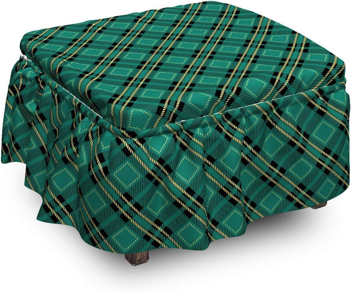 Ambesonne Celtic Green Al sold out. Ottoman Cover Diagonal 2 Manufacturer OFFicial shop Art Lines Piec