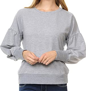 Re.Born Womens Casual Basic Zip Up Hoodie Pullover Sweatshirts with Pocket Balloon Sleeve Various Styles [S-3XL]