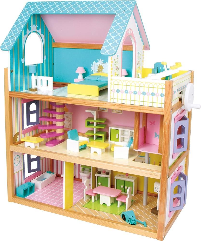 Casa delle bambole residence small foot in legno, con 3 piani, ascensore e balcone, incl. 23 mobili per bambol 2020389