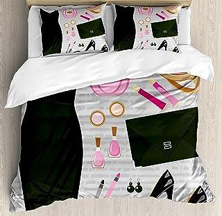 Tacones y vestidos Juegos de cama, bolso de cóctel inteligente negro, maquillaje, clutch, funda nórdica de 3 piezas, colcha de colcha para niños / niños / adolescentes / adultos, negro, rosa claro, ma