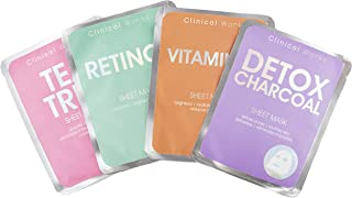 Clinical Works 4 Pack Face Mask Variety Pack, Face Sheet Masks Set Detox Charcoal, Retinol, Tea Tree & Vitamin C Face Mask Kit and Gift Set for Brightening and Exfoliating Skin, Facial Masks for Women