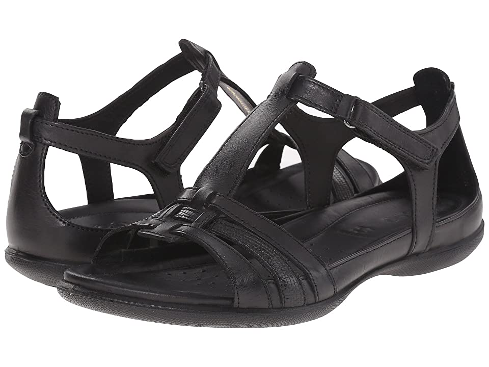 ECCO Flash T-Strap Sandal (Black/Black) Women