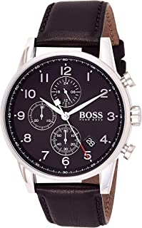 Hugo Boss Mens Quartz Watch, Chronograph Display and Leather Strap 1513678 Black