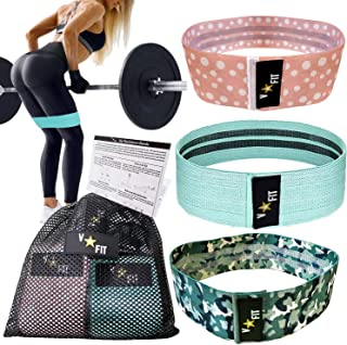 Fabric Resistance Bands for Legs and Butt, Exercise Bands, Booty Bands Set of 3 Non Slip Cotton Glute Loop Bands. Workout ...