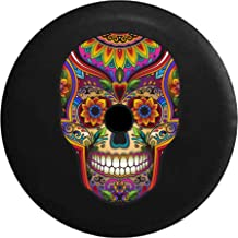 JL Spare Tire Cover Sugar Skull Artistic Heritage Halloween with Backup Camera Hole Black 32 in