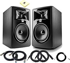 JBL 305P MkII Pair 5 Inch Powered Studio Monitor 82W 2-way Studio Reference Speakers Set with 2x Senor Microphone Cable 2x Balance Cable 1x TRS Cable and Zorro Sounds Cloth