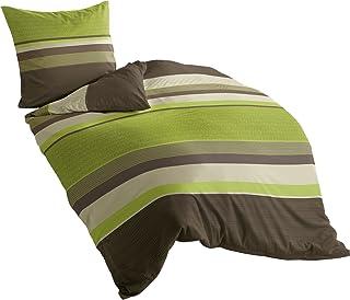 Bierbaum Wohnen 4630_13 Parure de lit en flanelle Vert 135 x 200 cm