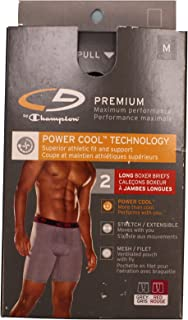 C9 Premium Power Cool Technology Long Boxer Briefs, 2 Pack (Gray's) (Small, Grey)
