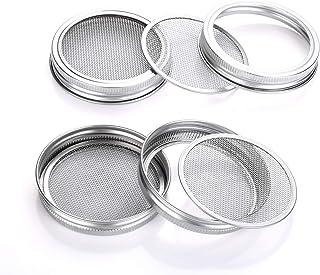 moinkerin 4 Piezas de Acero Inoxidable Sprouting Tapas, Cubierta de germinación de Semillas Kit para 90mm Boca Ancha Masón Tarros para Hacer Semillas de Brote orgánicas en casa y Cocina