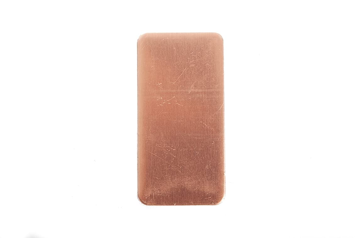 RMP Stamping Blanks, 1 Inch X 2 Inch Rectangle, Radius Corners, 24 Oz. Copper, .032