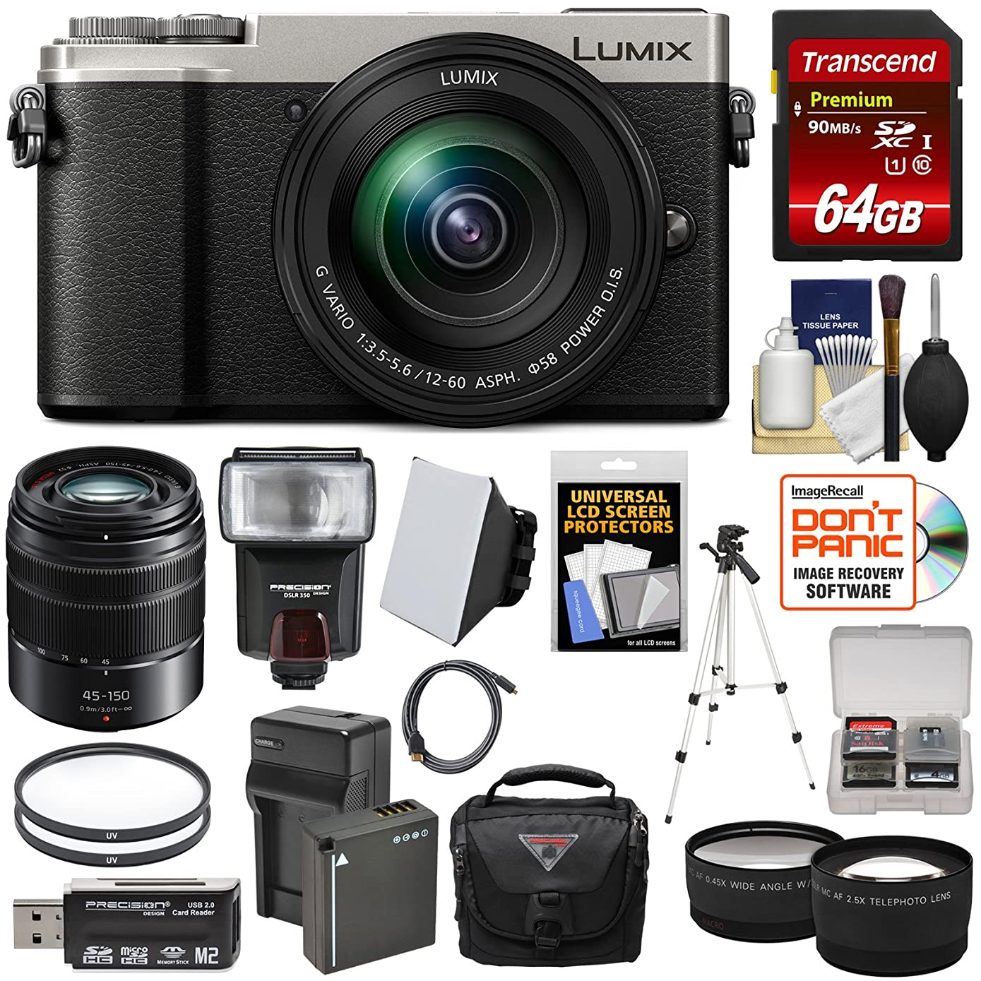 Panasonic Lumix DC-GX9 4K Wi-Fi Digital Camera & 12-60mm (Silver) + 45-150mm Lens + 64GB Card + Battery + Case + Tripod + Flash + Tele/Wide Lens Kit