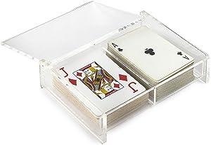 Huang Acrylic Twin Playing Card Deck Case for Poker, Bridge