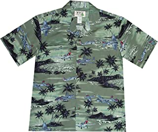Men's Hawaiian Aloha Shirt Military WW 2 Fighters VTG Air Force Diamond Head