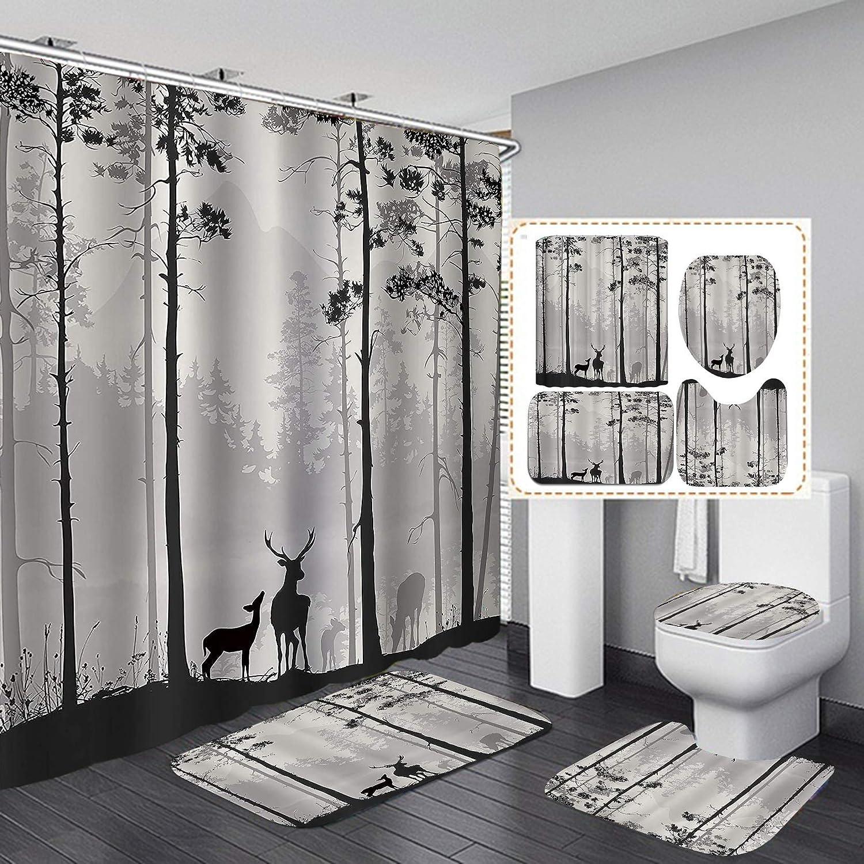 JaydenMadge 4PCS Set Black Philadelphia Mall White Forest Misty Deer Surprise price A Silhouette