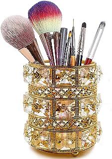 JOYJULY Boîte de rangement pour pinceaux de maquillage en cristal - Doré