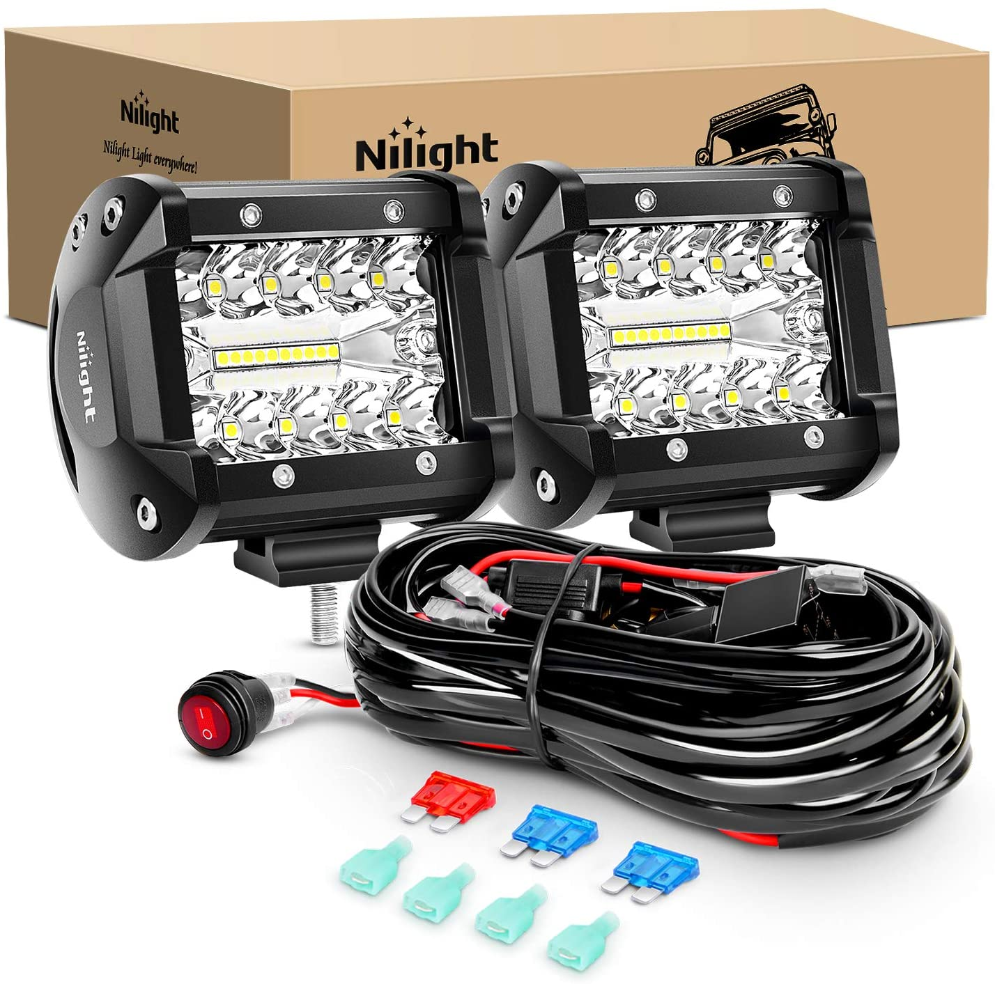 Nilight LED Light Bar 2PCS 60W 4 Inch Flood Spot Combo LED Work Light Pods Triple Row Work Driving Lamp with 12 ft Wiring Harness kit - 2 Leads,2 Year Warranty