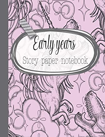 Early years story paper notebook: The large notebook for primary and early year children learning to write with picture box and writing lines - Cute pink dinocorn cover art design