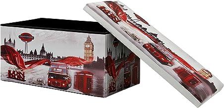 [en.casa] Taburete de Almacenamiento multifunción (76×38cm) Puff - Otomana - reposapiés (London) - Cuero sintético PU (Estampado)