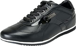 Collection Men's Black Leather Fashion Sneakers Shoes Sz US 8 IT 41