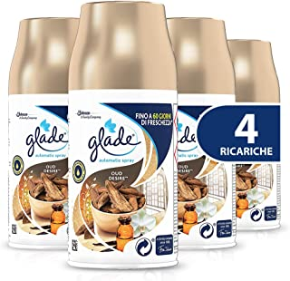 Glade Automatic Spray Recharges Parfum Oud Desire Format Saute 1 Boîte de 4 x 269 ml