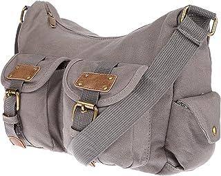 Christian Wippermann Damen Handtasche Schultertasche Tasche Umhängetasche Canvas Shopper Crossover Bag Grau