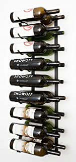 VintageView Wall Series- 18 Bottle Wall Mounted Wine Rack (Satin Black) Stylish Modern Wine Storage with Label Forward Design