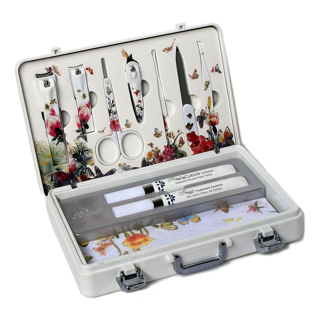 一回アサーひいきにするMETAL BELL Manicure Sets BN-2000 爪の管理セット爪切りセット 高品質のネイルケアセット高級感のある東洋画のデザイン Nail Clippers Nail Care Set