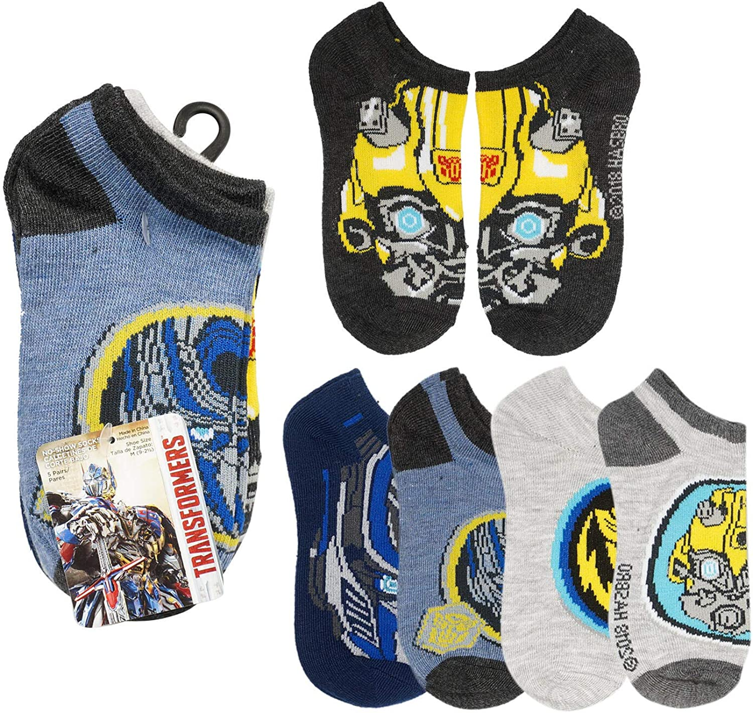 Transformers No-Show Socks for Boys - Size L/G (3-9) - Five Pairs
