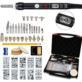 52pcs Kit Pirograbador de Madera,Ockered Kit Pirograbdores Electrico 60W Temperatura Regulable entre 150° C y 450° C, Soldador Pirografo Profesional para Madera, Cuero, Grabado