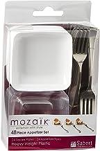 طقم مقبلات صغيرة للاستعمال مرة واحدة 48 قطعة من موزايك مع أوعية وأدوات مائدة