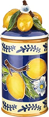 Blue Sky Ceramic Lemon Canister, Large, Multicolor
