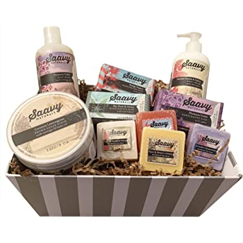 Pamper Yourself Spa Gift Baskets for Women | Gluten-Free Vegan 10 Piece Gift Set Includes Organic Body Bars, Hand Soap, Moisturizing Cream, Body Wash, Sugar Scrub
