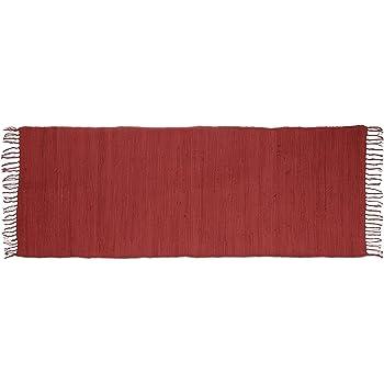 Relaxdays – Alfombra de Corredor con Flecos Rojo 80 x 200 cm 100 ...