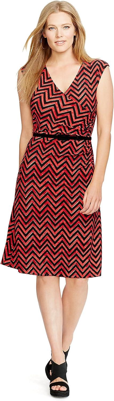 Women's Plus Size Chevron-Print Cap Belted Surplice Dress