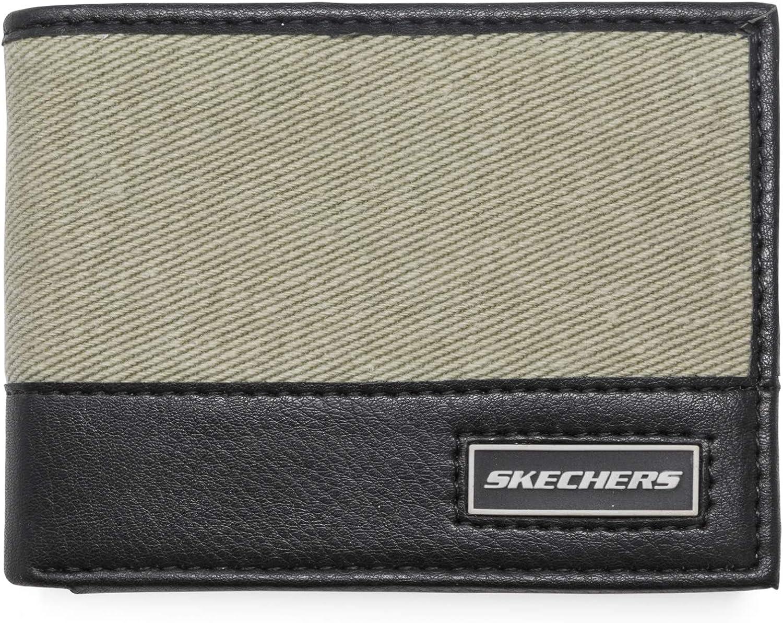 Skechers Men's Slimfold Canvas Vegan Leather RFID Wallet
