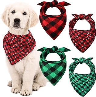 Syhood 4 Pieces Christmas Dog Bandanas Plaid Snowflake Pet Scarf Bibs Triangle Dog Bibs for Large Medium Small Pets Suppli...