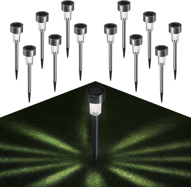 Luces Jardín Solar ,Quntis 12 Pcs Inoxidable Luz Solar Exterior, Impermeable farolillos iluminacion exterior solar LED para Caminos de Jardín, Céspe, Patio, Pasillo