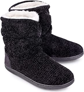 Women's Chenille Knit Bootie Slippers Cute Plush Fleece...