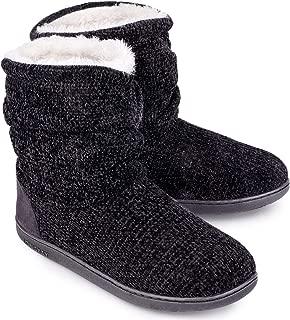 Women's Chenille Knit Bootie Slippers Cute Plush Fleece Memory Foam House Shoes