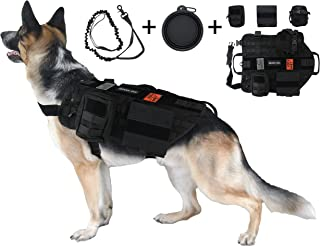 Tri Cloud Sports Dog Tactical Harness – 1000D Nylon Molle Vest Includes Leash | 3 Pouches | 3 Patches | Collapsible BPA Free Bowl