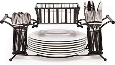 Gourmet Basics by Mikasa 5154842 Metal Hostess Flatware Napkin and Plate Tabletop Buffet Picnic Caddy, Band and Stripe