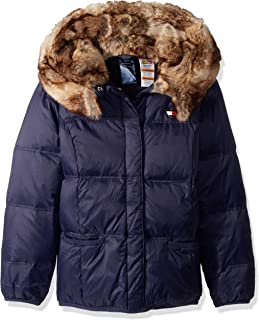 Girls' Little Adaptive Puffer Jacket with Magnetic Buttons and Faux Fur Hood