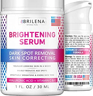 Hyaluronic Acid Dark Spot Corrector Remover & Brightening Serum Cream for Face with Alpha Arbutin, Hyaluronic Acid & Niacinamid - Made in USA - Whitening, Bleacing and Lightening Skin Serum Cream
