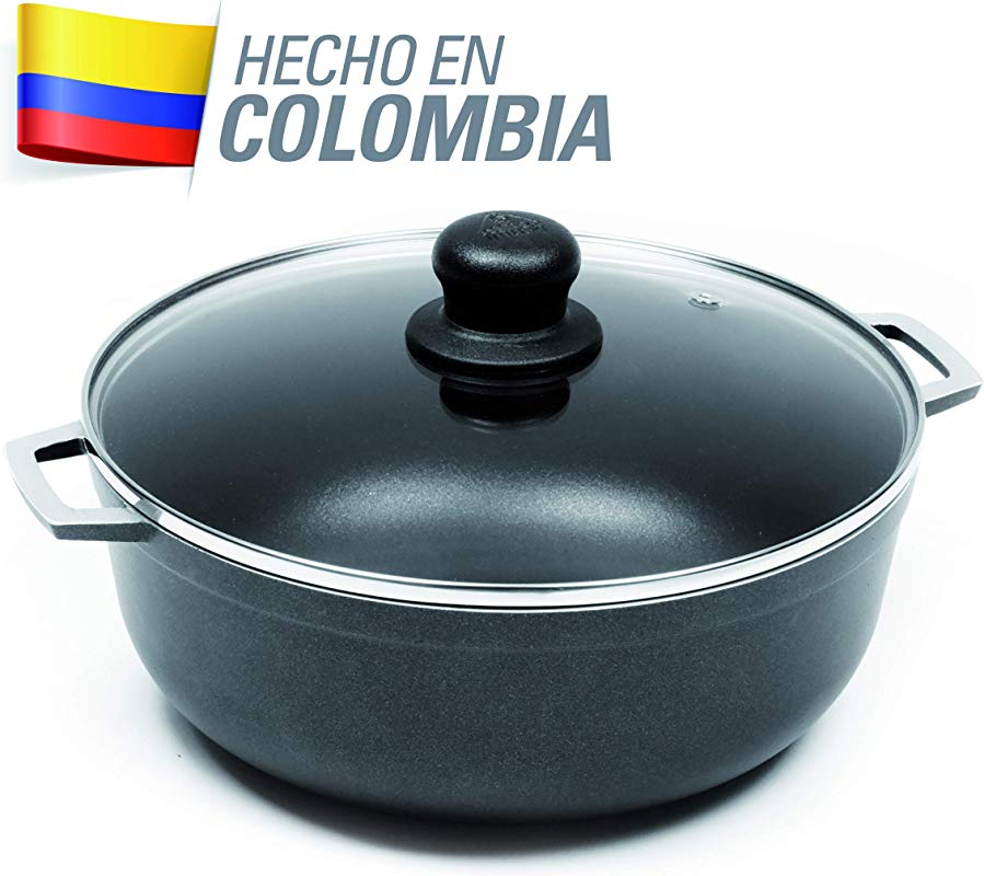 IMUSA USA GAU 80665 4 8Qt Black Nonstick Caldero With Glass Lid And Steam Vent Dutch Oven 4 8 Quarts