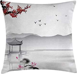 Ambesonne Asian Throw Pillow Cushion Cover, Japanese Asian Style Garden Bird and Small Pavilion Over The Lake Lotus Waterlily, Decorative Square Accent Pillow Case, 24 X 24 Inches, Grey Pink Red