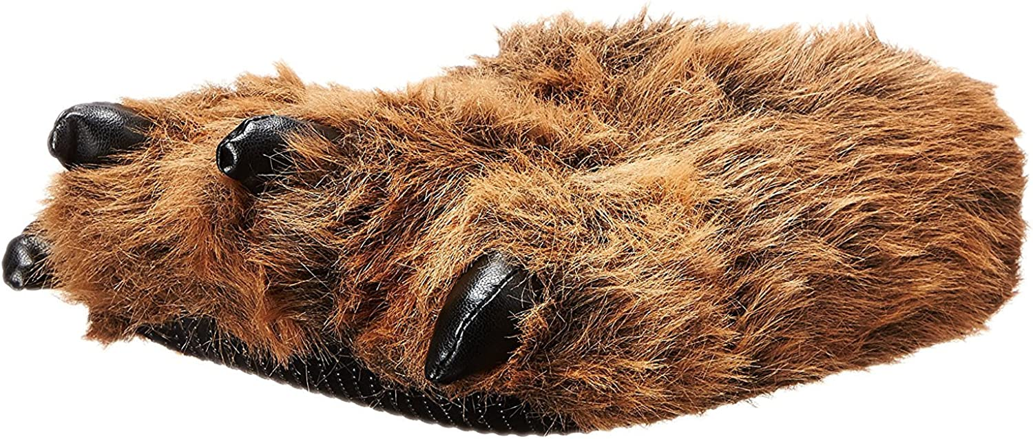Wishpets Grizzly Bear Paw Slippers w  Black Claws (Brown, Large)