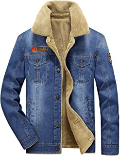 Men's Plus Cotton Warm Fur Collar Sherpa Lined Denim Jacket Button Down Classy Casual Quilted Jeans Coats Outwear