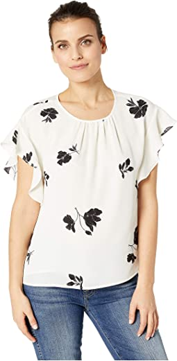 Petite Tossed Flowers Ruffled Sleeveless Ruched Neck Blouse