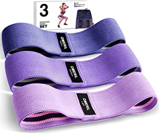 OMERIL Resistance Bands Set, 3 Packs Fabric Workout Bands with 3 Resistance Levels, Non-Slip Exercise Bands Elastic Resist...